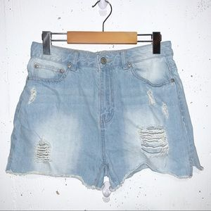 Refuge by Charlotte Russe Distressed Mom Shorts
